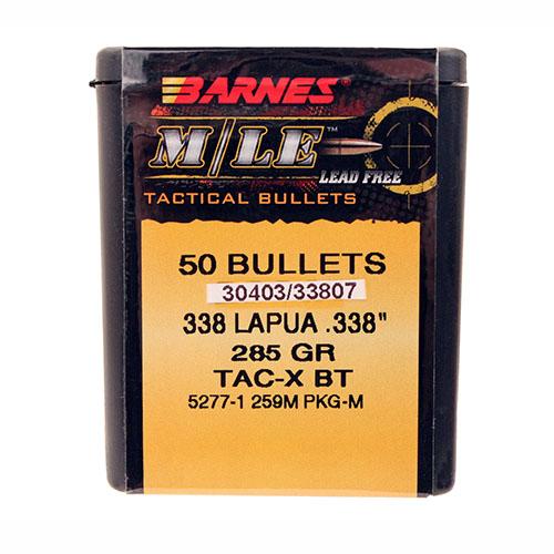 """Barnes Bullets 33807 338 Lap .338""""285gr MLE TACX BT/50"""