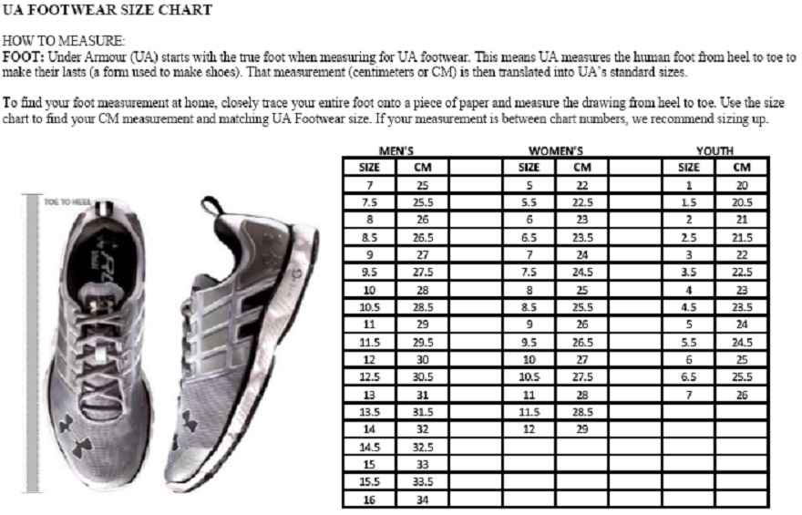 Under Armour Foot Size Chart