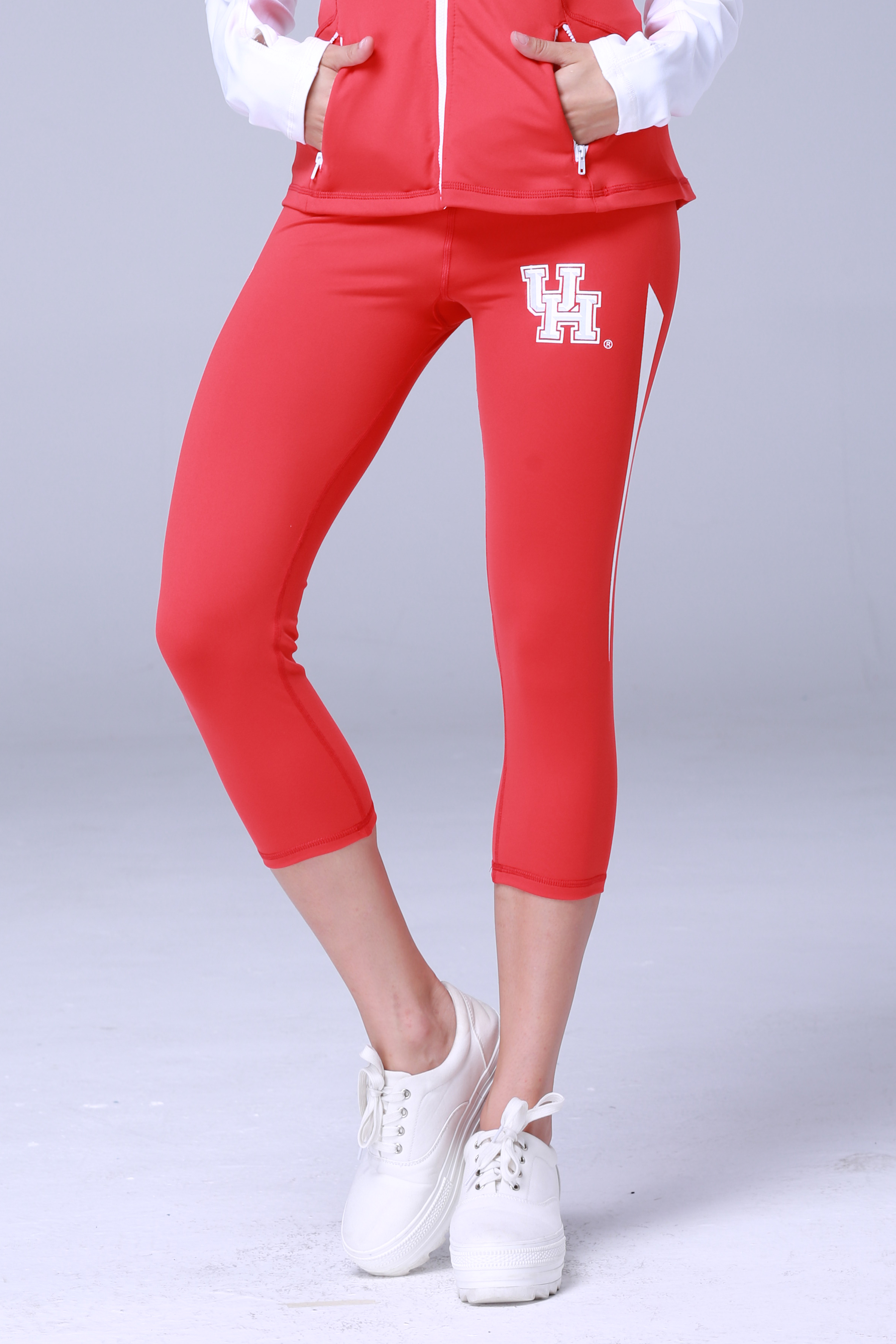 Houston Cougars Womens Yoga Capri Pant (Red)