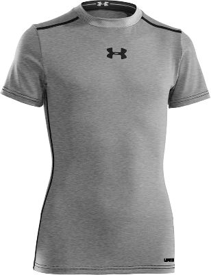 Under Armour Boys' HeatGear Sonic Fitted Short Sleeve - Gray - Size Medium