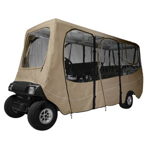 Classic Fairway Golf Cart Deluxe Enclosure X-Long Roof Khaki