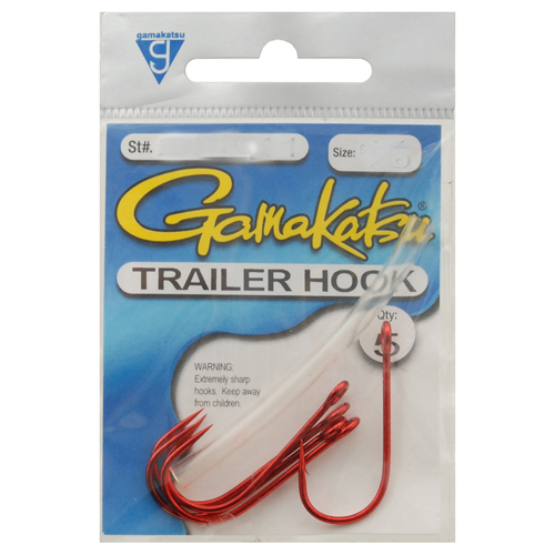 Gamakatsu Trailer Hook Red 3/0, 5 Hooks P/P
