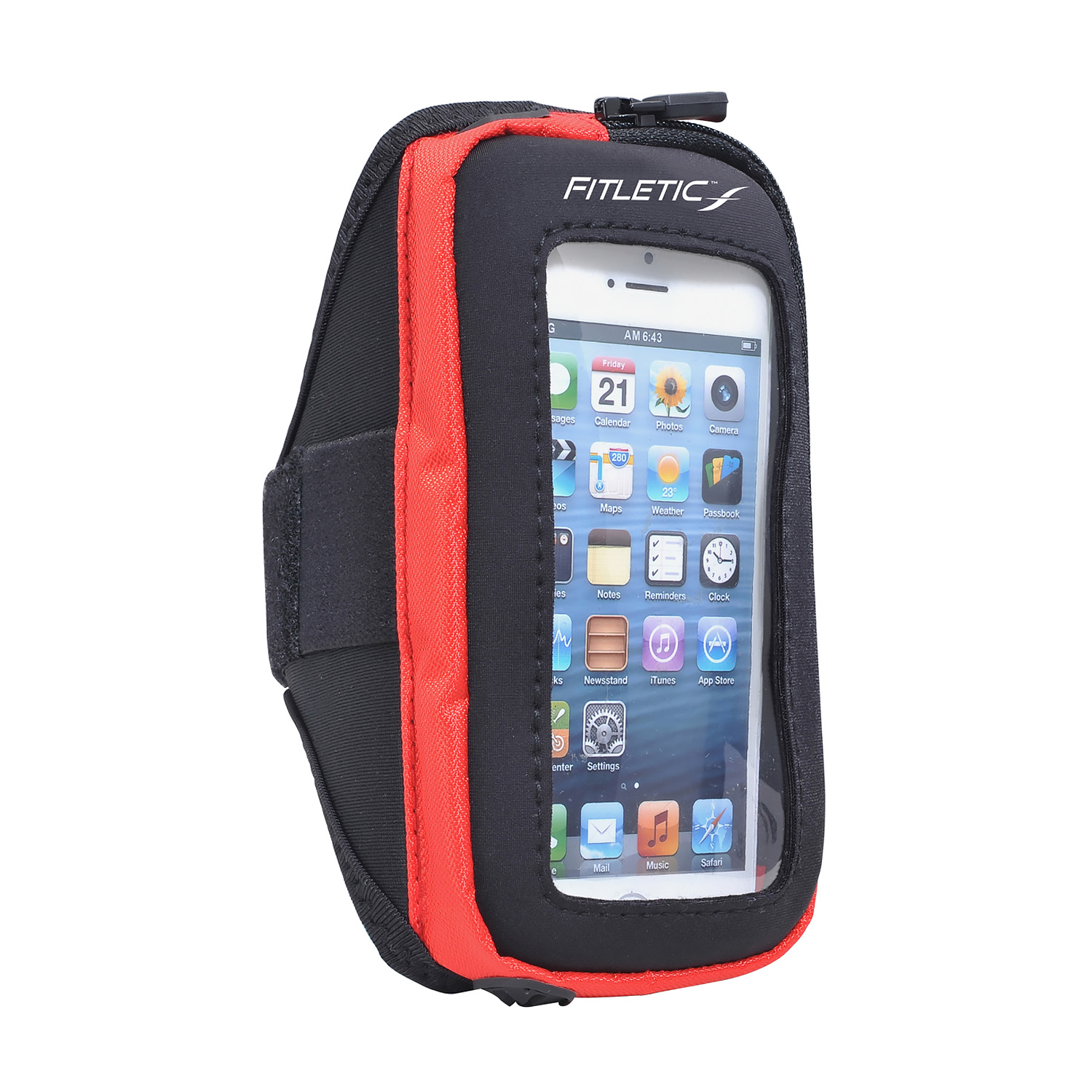 Fitletic Smart Phone Arm Band with Window Black/Red-S/M