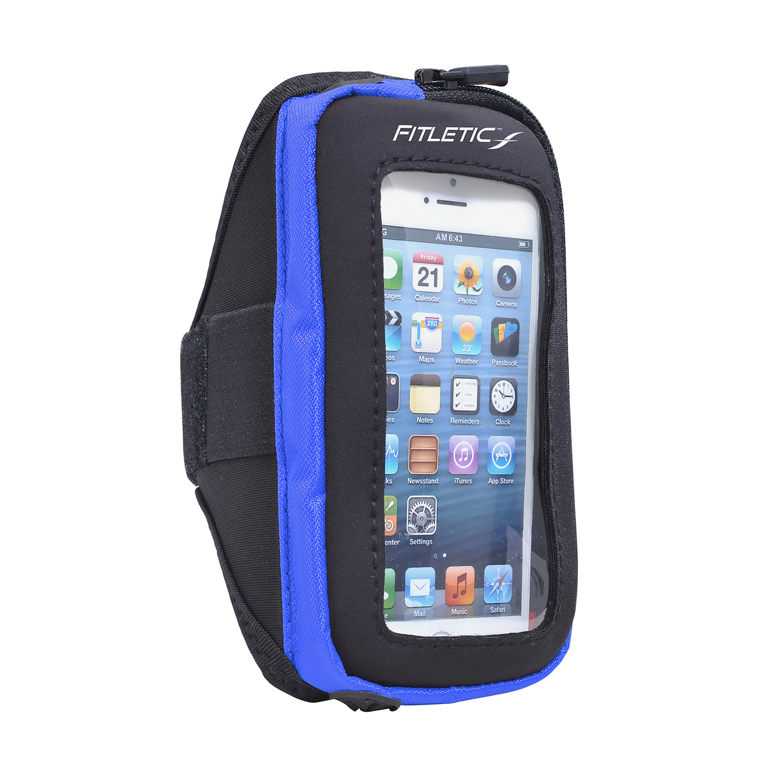 Fitletic Smart Phone Arm Band with Window Black/Blue-S/M
