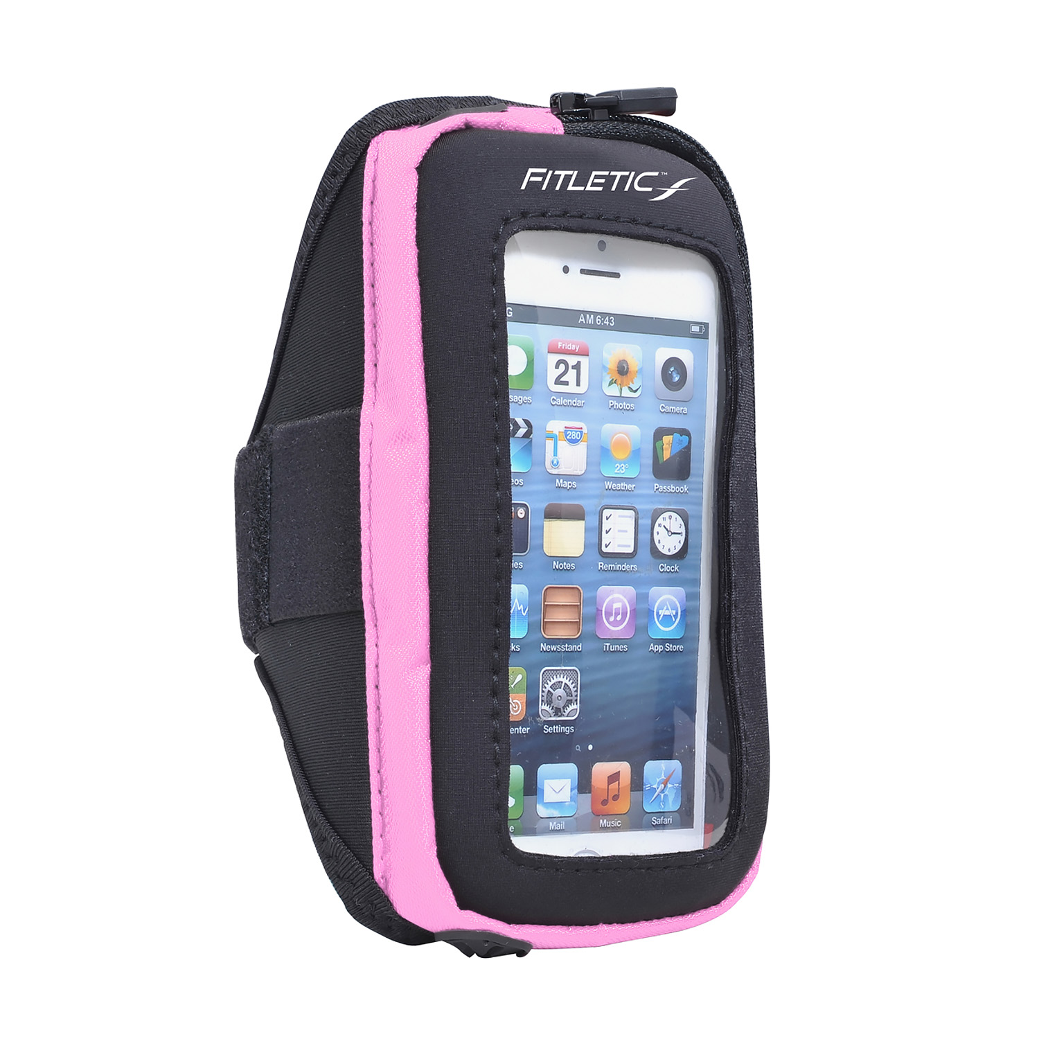 Fitletic Smart Phone Arm Band with Window Black/Pink-S/M
