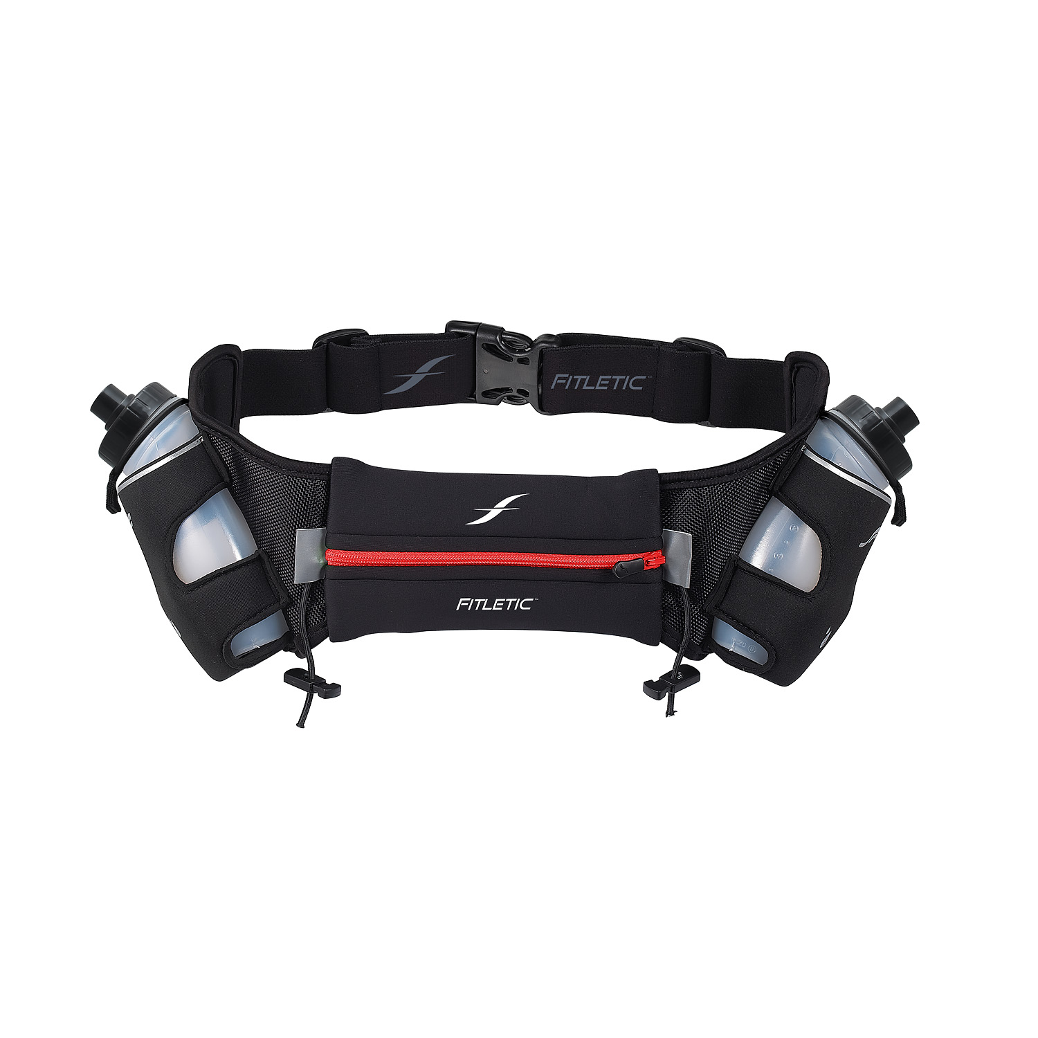 Fitletic Hydration Running Belt 12oz Red Zipper-L/XL