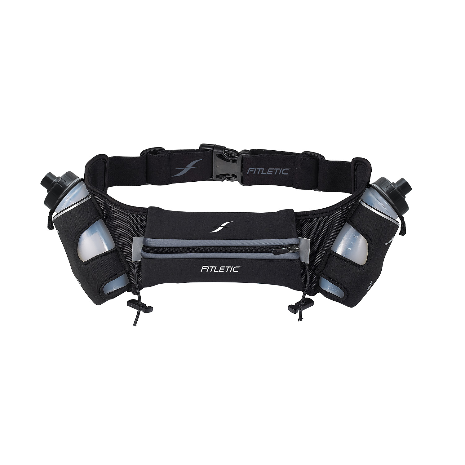 Fitletic Hydration Running Belt 12oz Gray Center-L/XL