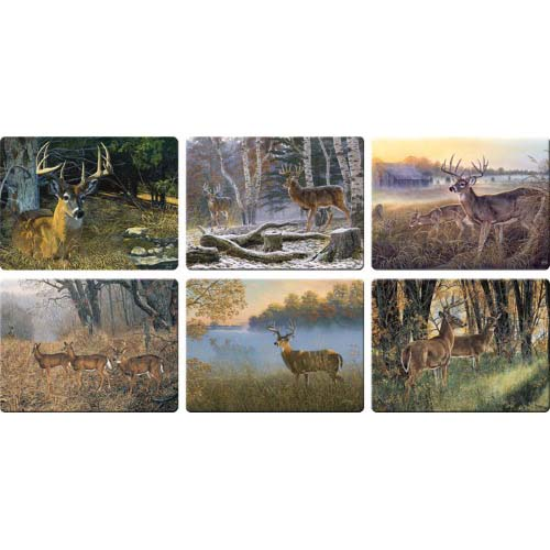 REP 12PC Assorted Deer Scene Glass Cutting Boards