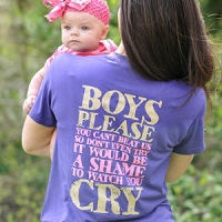 Buck Girl Adult 'Boys Please' Purple Short Sleeve T-shirt