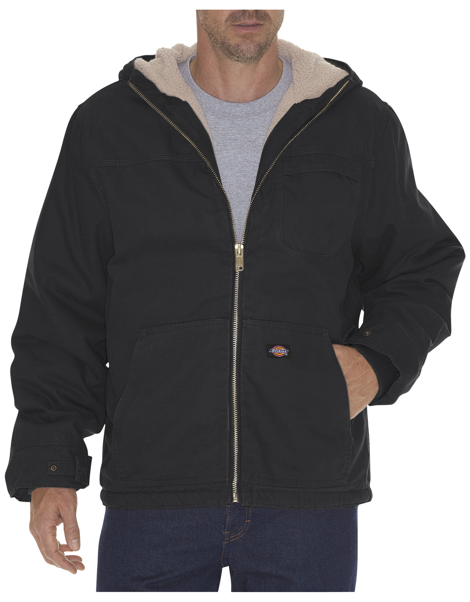 Dickies Mens Sanded Duck Sherpa Lined Hooded Jacket