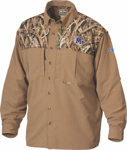 Drake University of Memphis Two-Tone Long Sleeve Shirt - Max5  Camo - Size Small