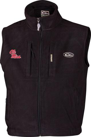 Drake Ole Miss Windproof Layering Vest - Black - Size Small