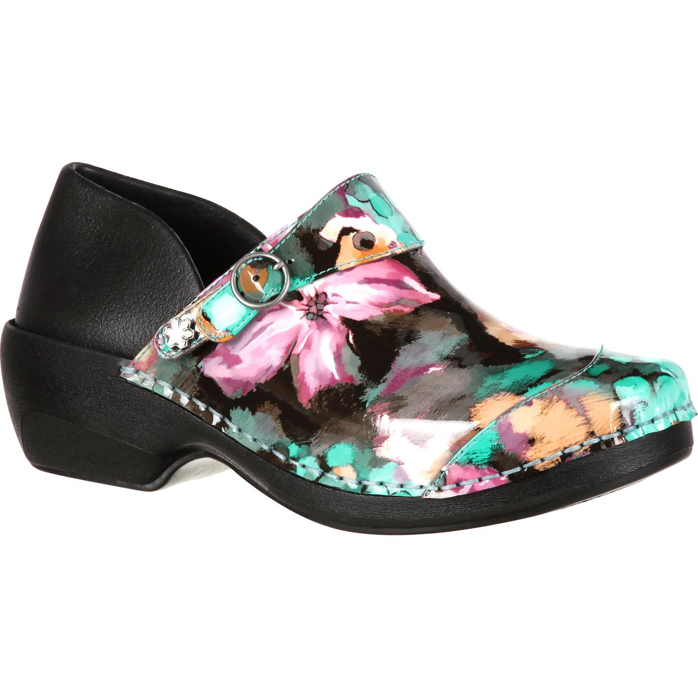 Rocky Womens 4EurSole Water Lily Inspire Me Patent Print Clog