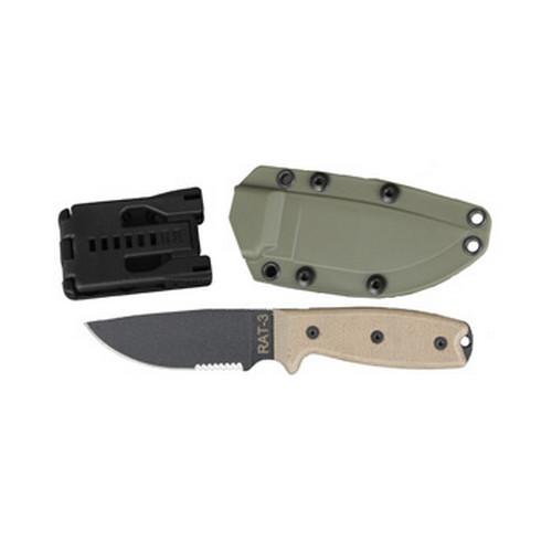 Ontario Knife Company Rat 3 1095 Serrated Green Sheath