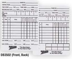Dalco Officials Game Card