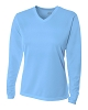 A4 Womens Long Sleeve V Neck Birds Eye Mesh Tee Volleyball Top