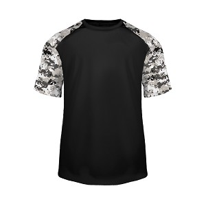 Badger Sport Digital Tee Shirt - Black/White Digital Camo