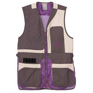 Browning Women's Trapper Creek Mesh Shooting Vest VST,TRAPPER CREEK CRM/PLM/GY,L