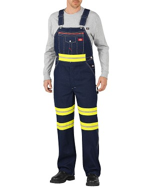 Dickies Mens E Vis Bib Overall With Yellow Tape