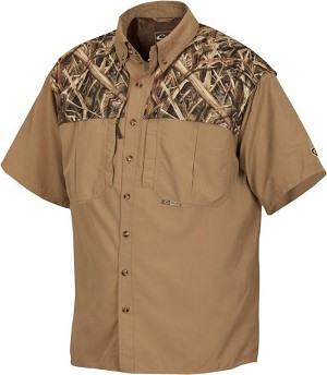 Drake Two-tone Vented Wingshooter's Short Sleeve Shirt