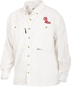 Drake Ole Miss Vented Long Sleeve Wingshooter's Shirt - White - Size Small