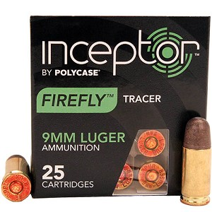 Polycase Ammunition 9mm 81gr Firefly Tracer Brass Case /25