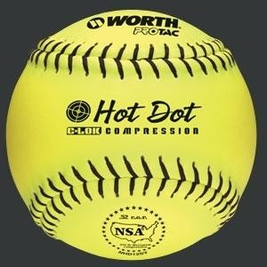 Worth 12'' Pro Tac NSA Hot Dot Slowpitch Softball Donzen NHD12SY