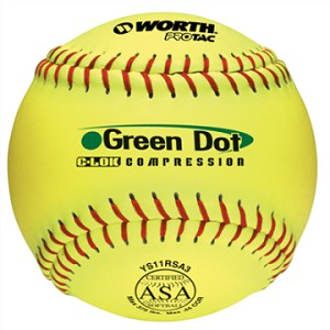 Worth 11'' ASA Pro Tac Super Green Dot Slowpitch Softball YS11RSA3